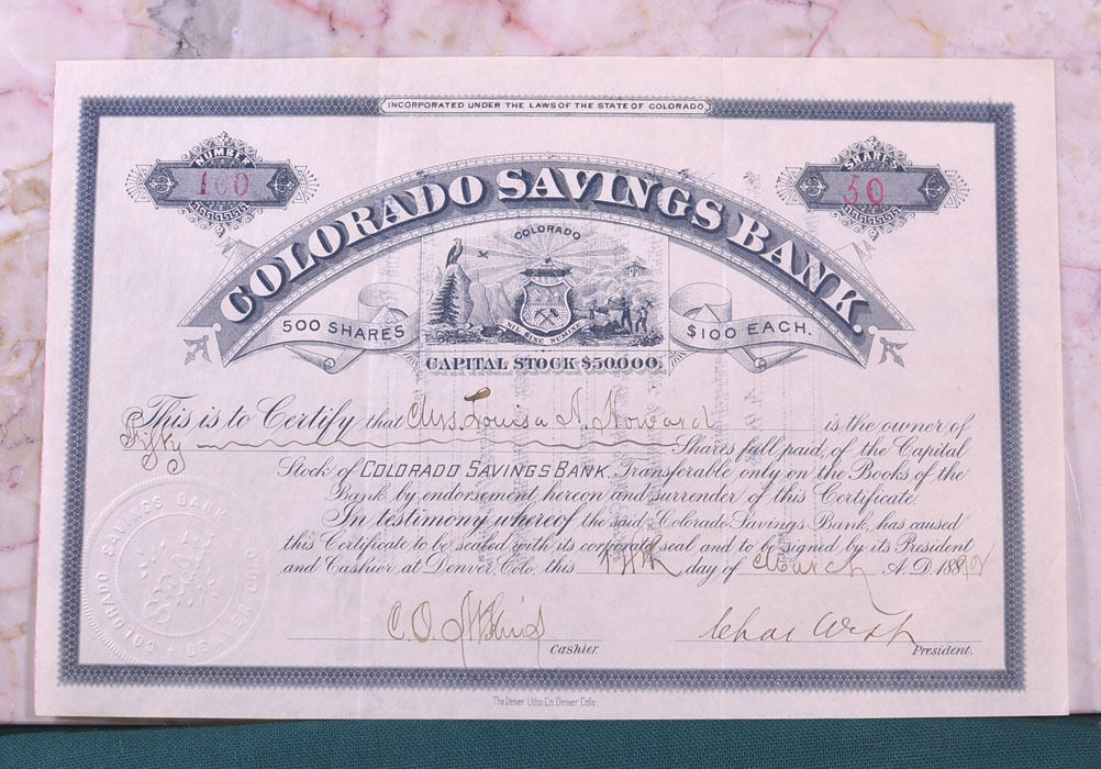 Colorado Savings Bank Stock Certificate