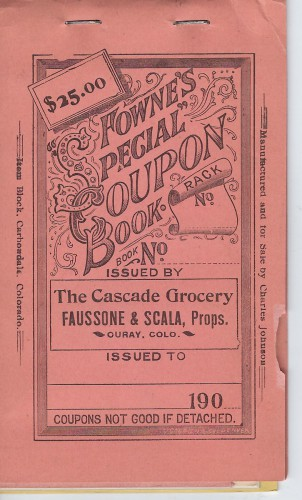 Cascade Grocery Ouray Colo coupon book 1