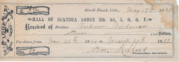 Hall of Scandia Black Hawk CO 1897