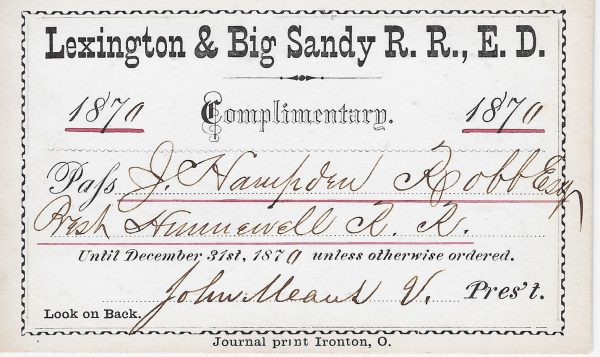 Lexington & Big Sandy RR pass 1870 a