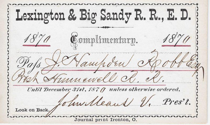 Lexington & Big Sandy RR pass 1870 a