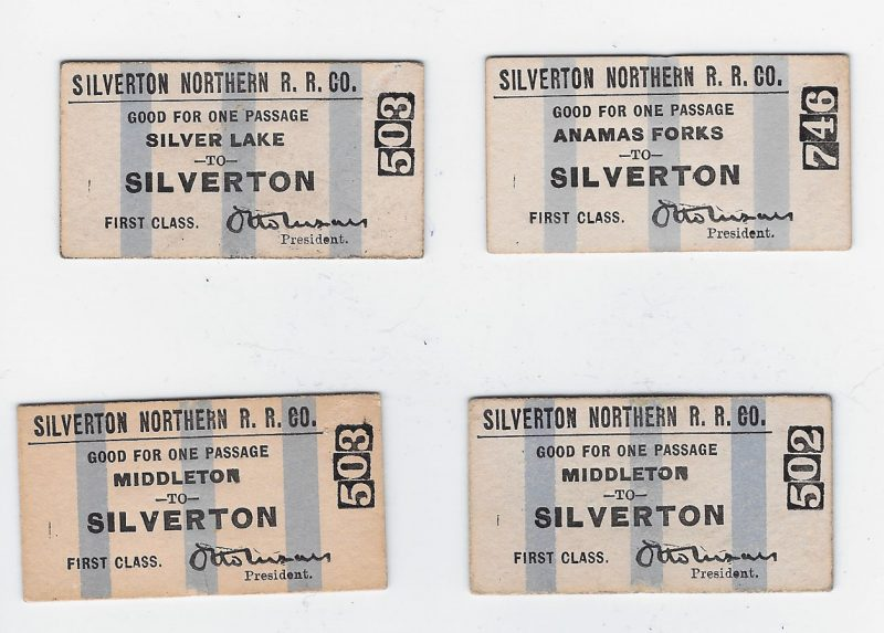 Silverton RR tickets Otto Mears 1