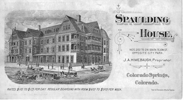 Spaulding House, Colorado Springs, Colo business card 1