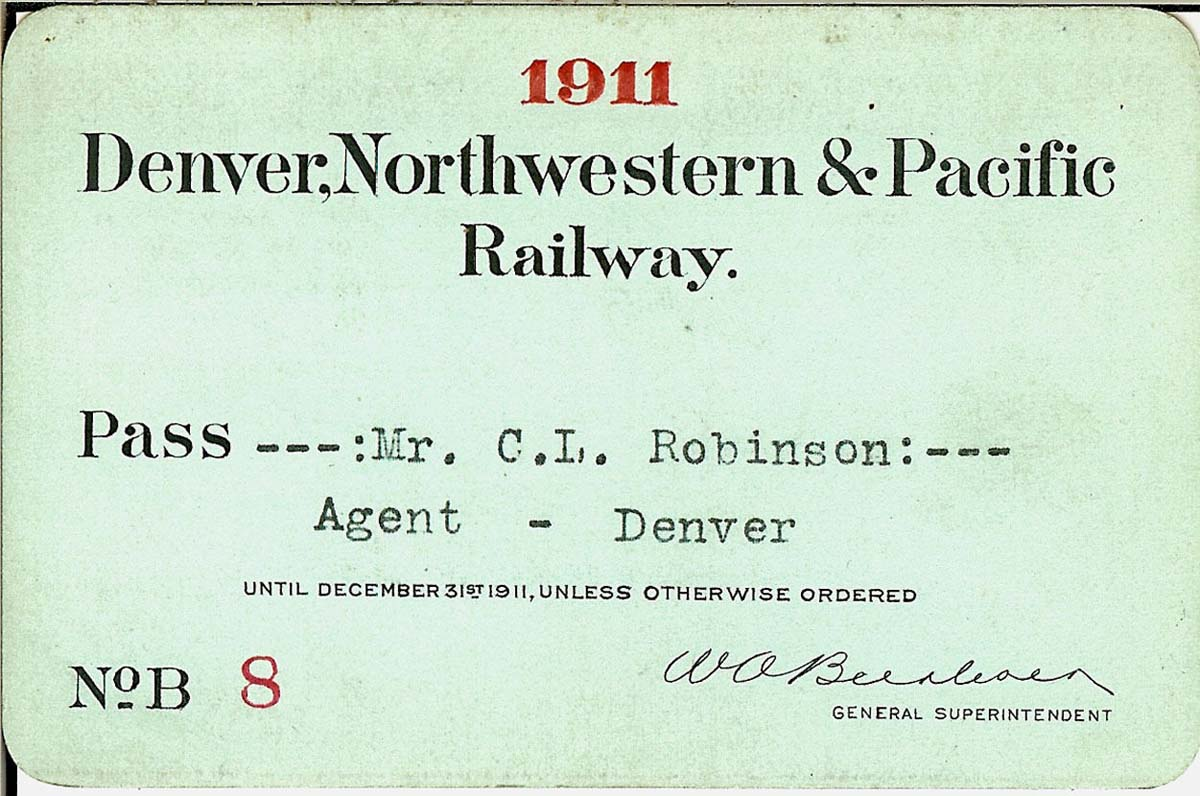 Denver, Northwestern & Pacific Railway Pass 1911