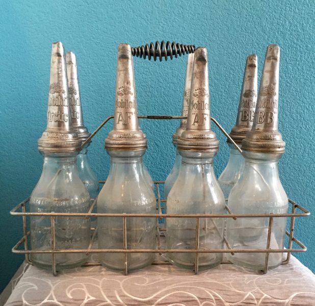 Mobiloil quart bottles and rack