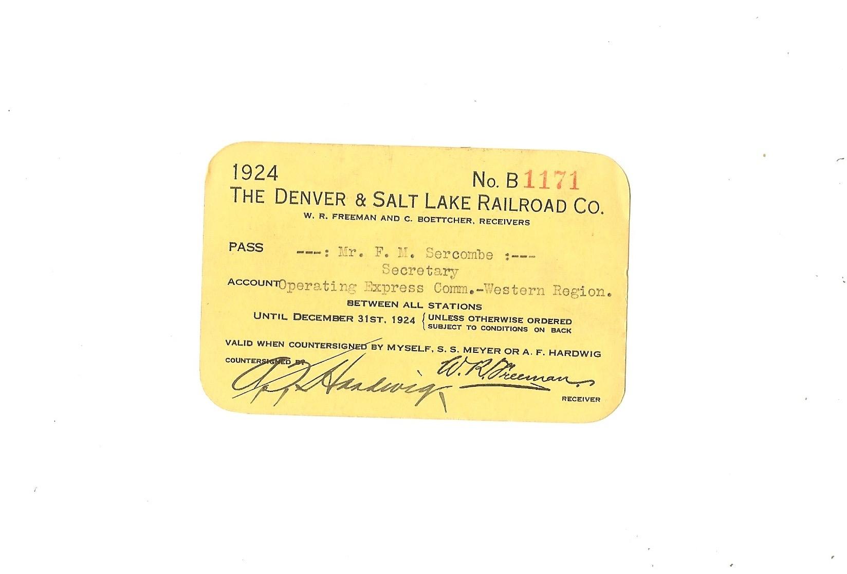 The Denver & Salt Lake Railroad Company Pass 1924