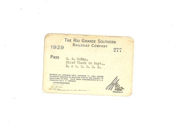 The Rio Grande Southern Railroad Company Pass 1923