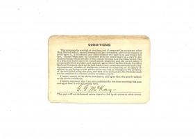 The Rio Grande Southern Railroad Company Pass 1923