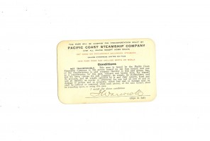 Pacific Coast Steamship Company Pass 1913