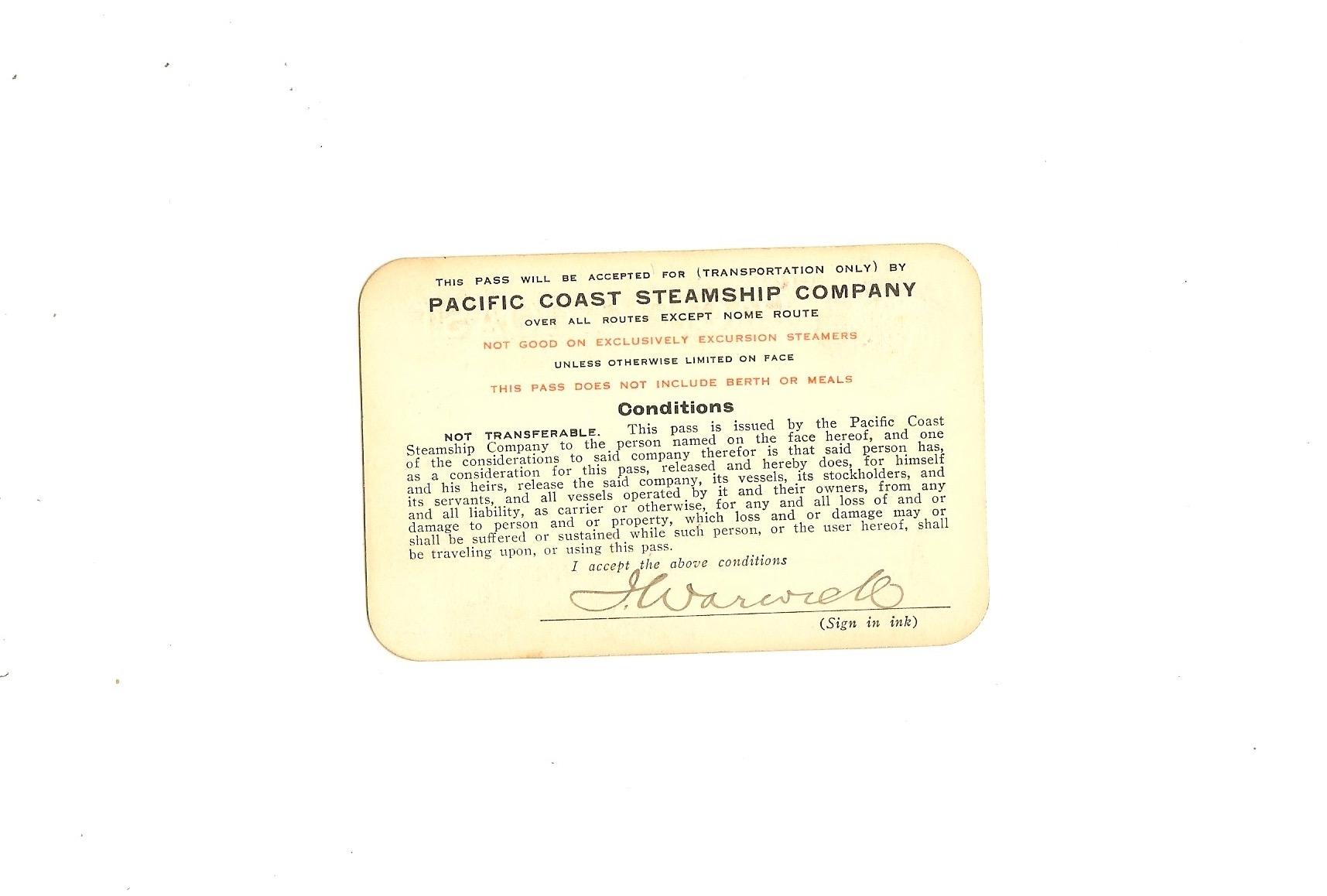 Pacific Coast Steamship Company Pass 1913