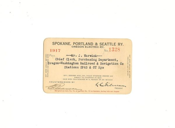Spokane, Portland & Seattle Railway Pass 1917