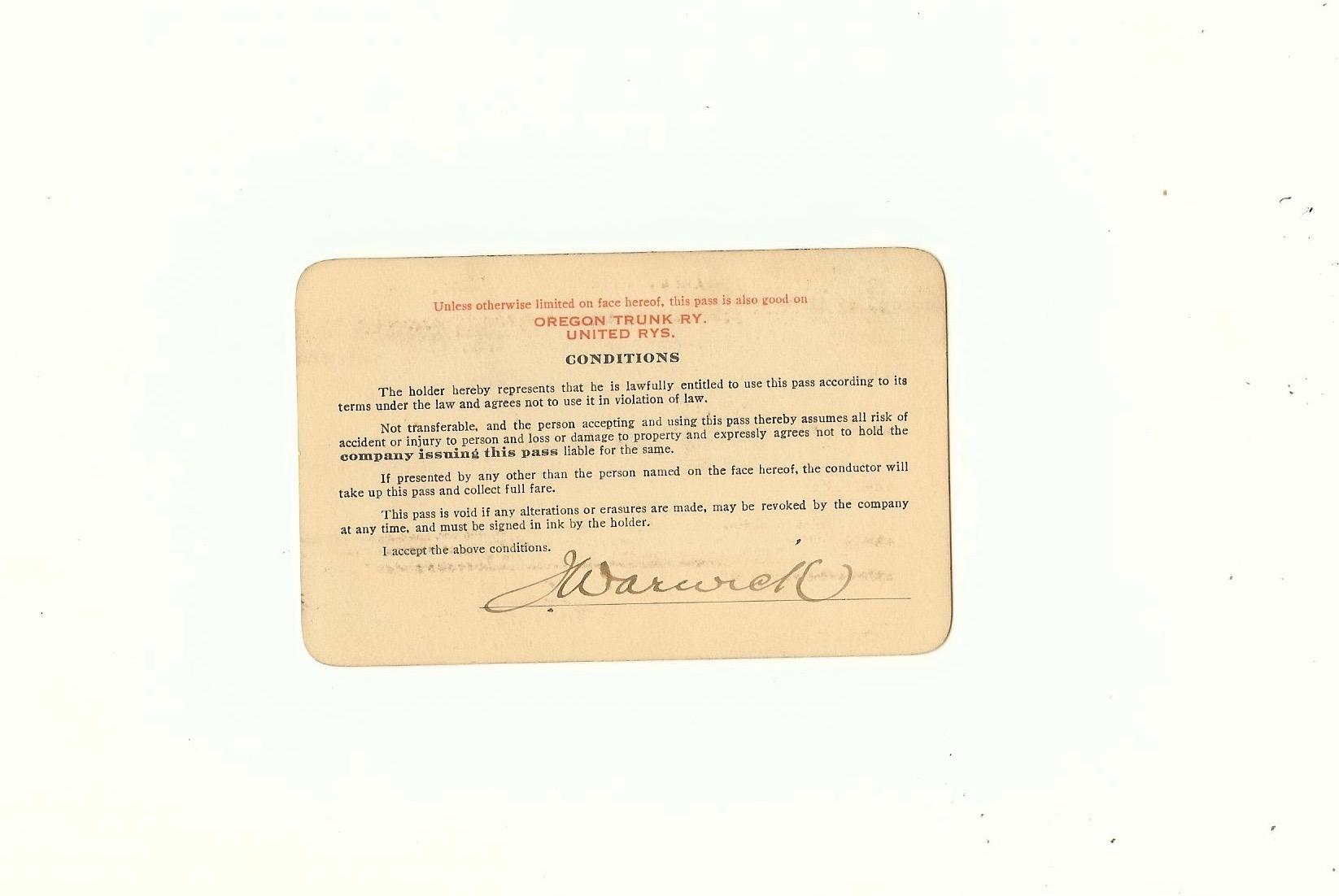 Spokane, Portland & Seattle Railway Pass 1917