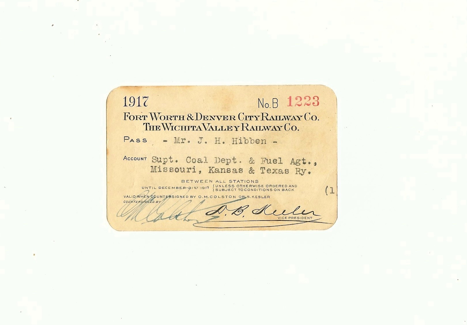 Fort Worth & Denver City Railway Company Railroad Pass 1917