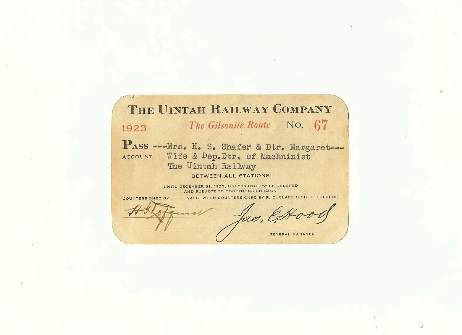 The Uintah Railway Company Railroad Pass 1923
