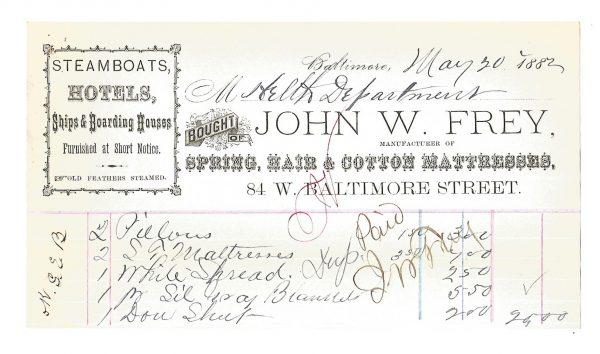 john-w-frey-smallpox-billheads-baltimore-maryland-1882-1