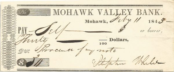 mohwak-valley-bank-check-mohwak-new-york-july-11th-1843