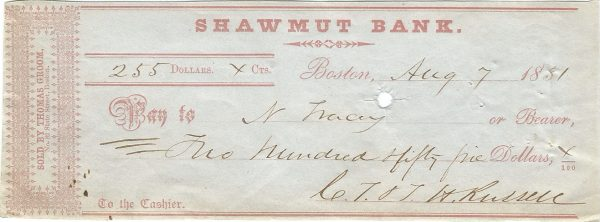 shawmut-bank-check-boston-massachusetts-august-7-1851