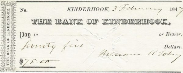 the-bank-of-kinderhook-new-york-check-february-3rd-1847-canceled