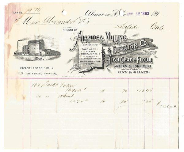 Alamosa Milling & Elevator Company Colorado Billhead 1893