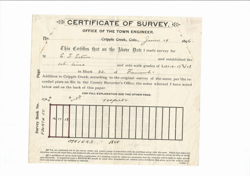 Cripple Creek Town Engineer Survey Certificate Meyer's & 4th Street 1896