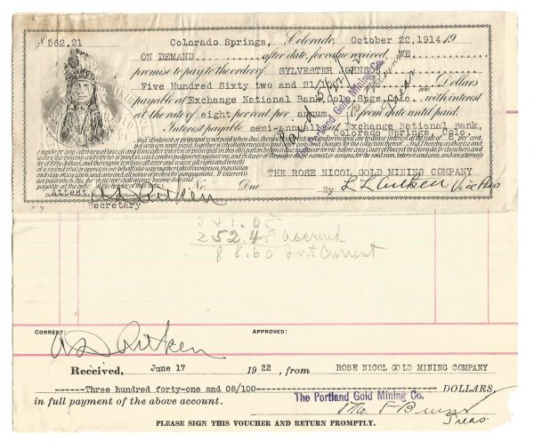Investment Voucher and Check Colorado Springs Portland Mining Company 1914