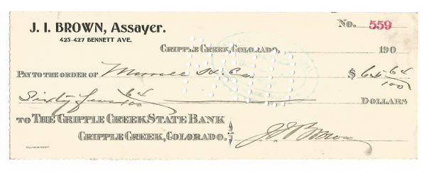J.I. Brown Assayer Cripple Creek Colorado Check 1908