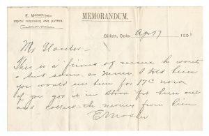 Memorandum Gents' Furnisher and Hatter Document 1897