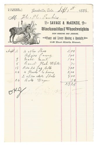 Savage & McKenzie Blacksmiths & Wheelwrights Leadville Colorado Billhead 1886 1