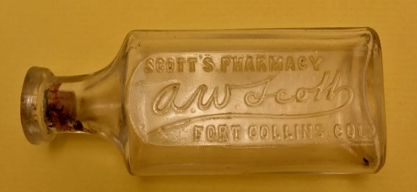 "Scott's Pharmacy ""A.W. Scott"" Medicine Bottle Fort Collins Colorado ca. 1901"