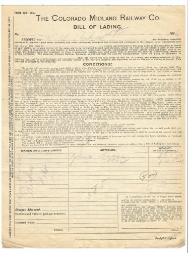 The Colorado Midland Railway Company Bill of Lading 1906