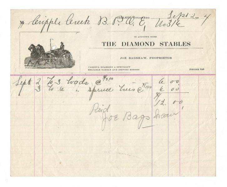 The Diamond Stables Billhead 1904