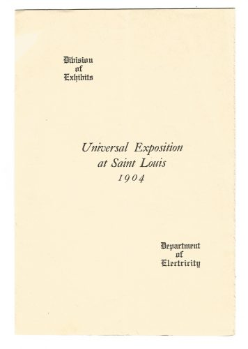 Universal Exposition at Saint Louis Missouri Department of Electricity 1904 Pamphlet