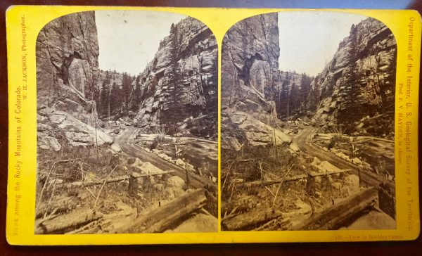 View in Boulder Canon Colorado by W.H. Jackson Stereoview 1