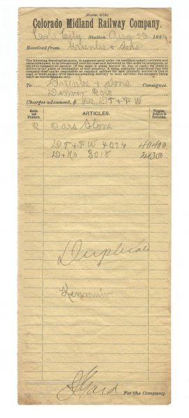Colorado Midland Railway Company Bill of Lading 1889