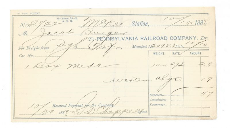 Pennsylvania Railroad Company Freight Forms 1888 & 1889 2