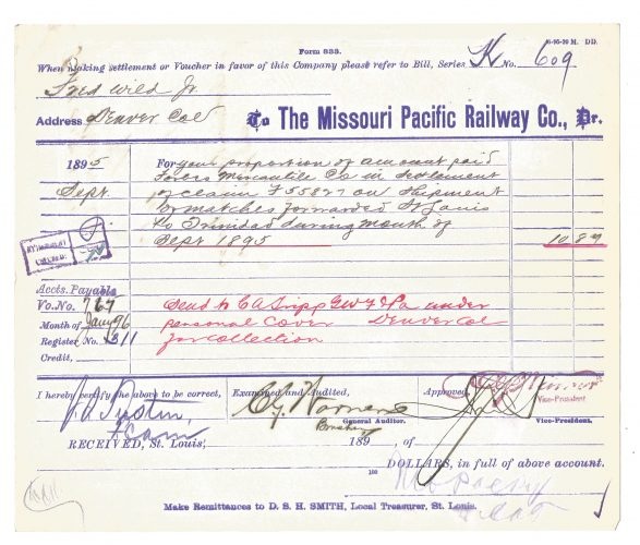 The Missouri Pacific Railway Company Bill Form 1895