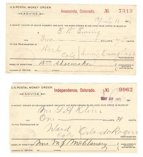 U.S. Postal Money Order Set Anaconda & Independence Colorado to Ward 1902-1903