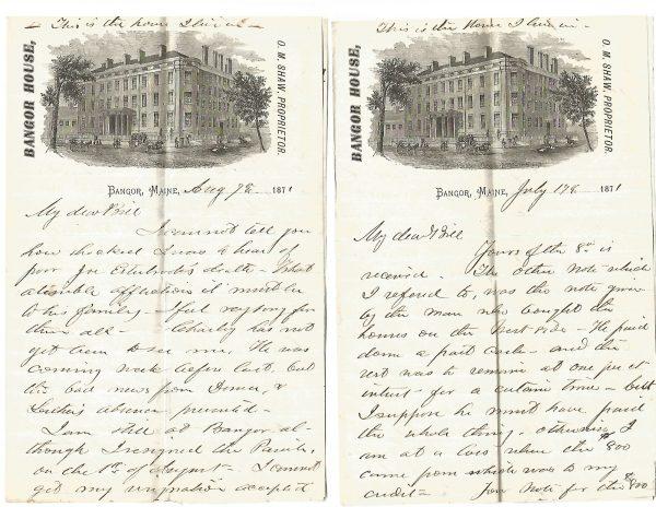 Bangor House Letters Bangor Maine 1871 Structural Vignette