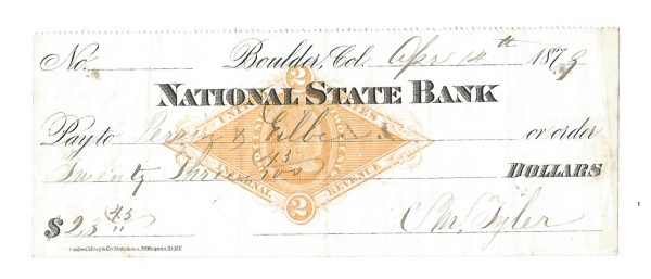 Early National State Bank Boulder Colorado Canceled Check 1879