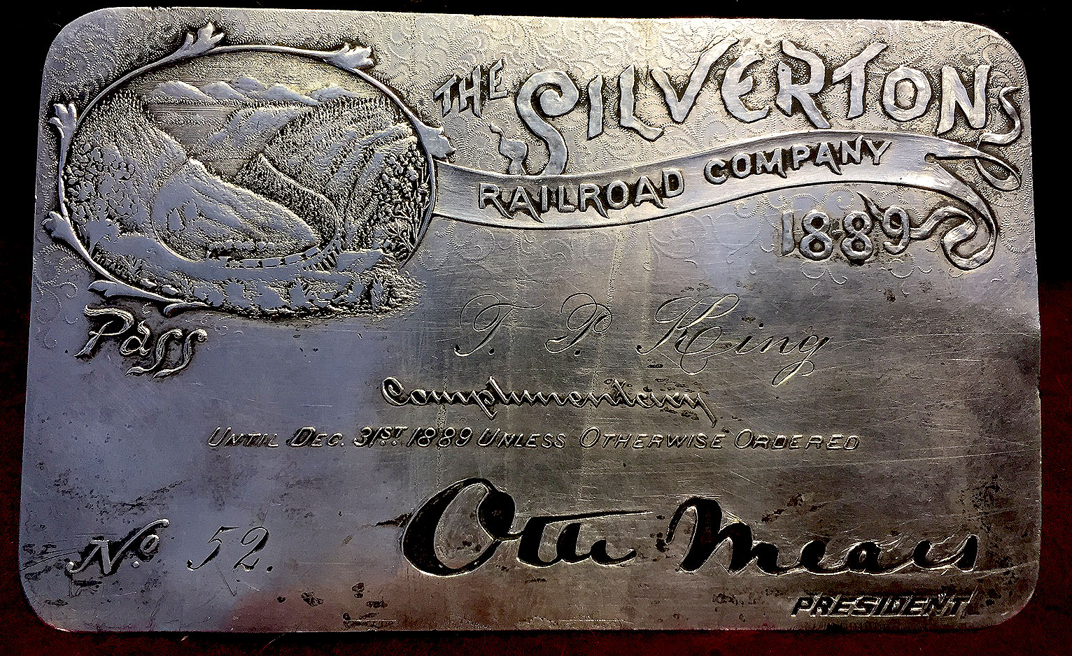 The Silverton Railroad Company Silver Pass 1889 Otto Mears