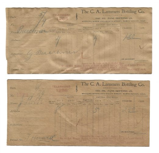 The C.A. Lammers Bottling Company Bottle Transaction Documents ca. 1905