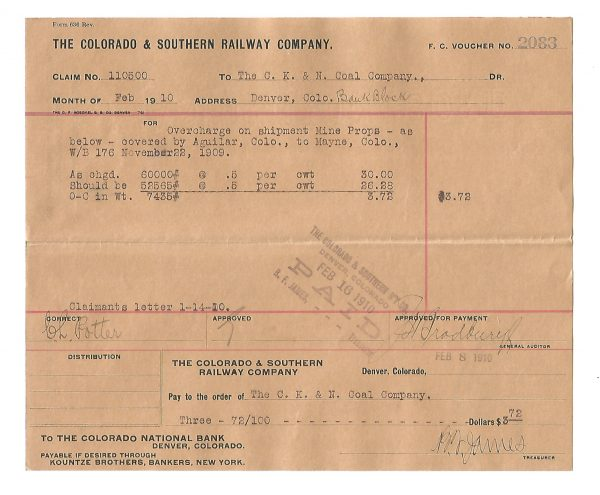The Colorado & Southern Railway Company Voucher Colorado 1910