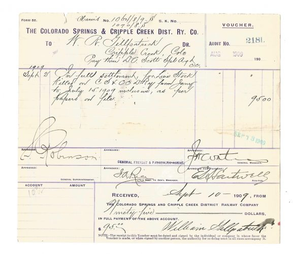 The Colorado Springs & Cripple Creek District Railway Company Colorado Voucher 1909