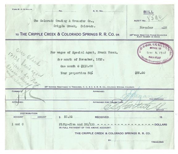 The Cripple Creek & Colorado Springs Railroad Company Bill 1918