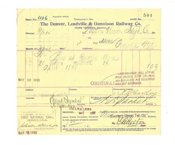 The Denver, Leadville & Gunnison Railway Company Voucher 1898