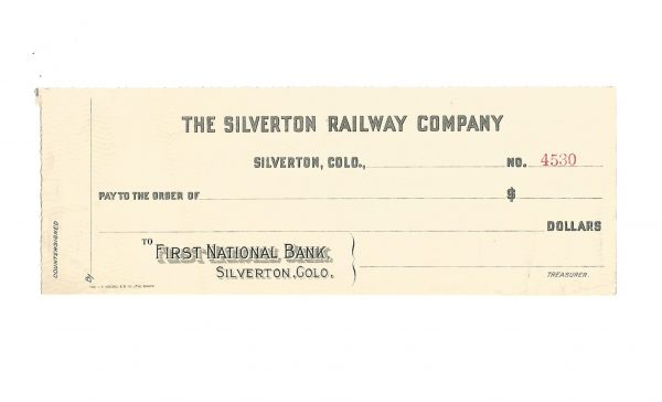 The Silverton Railway Company Colorado Check ca. 1910