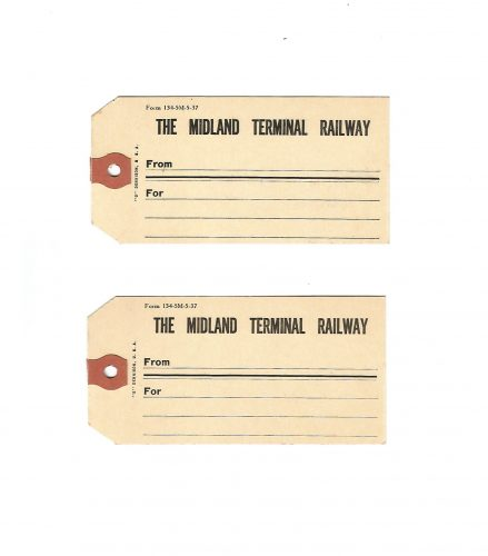 Two Midland Terminal Railway Colorado Luggage Tags ca. 1915