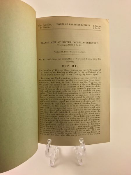 Branch Mint at Denver, Colorado Territory 1862 Pamphlet House of Representatives