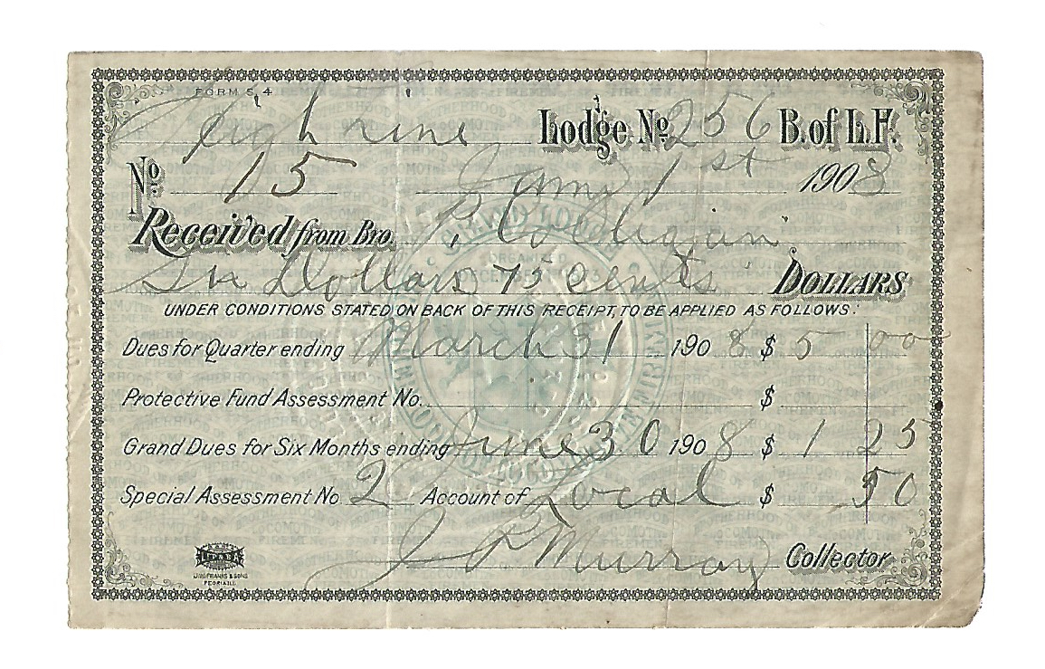 Brotherhood of Locomotive Firemen Dues Receipt No. 256 1908 1