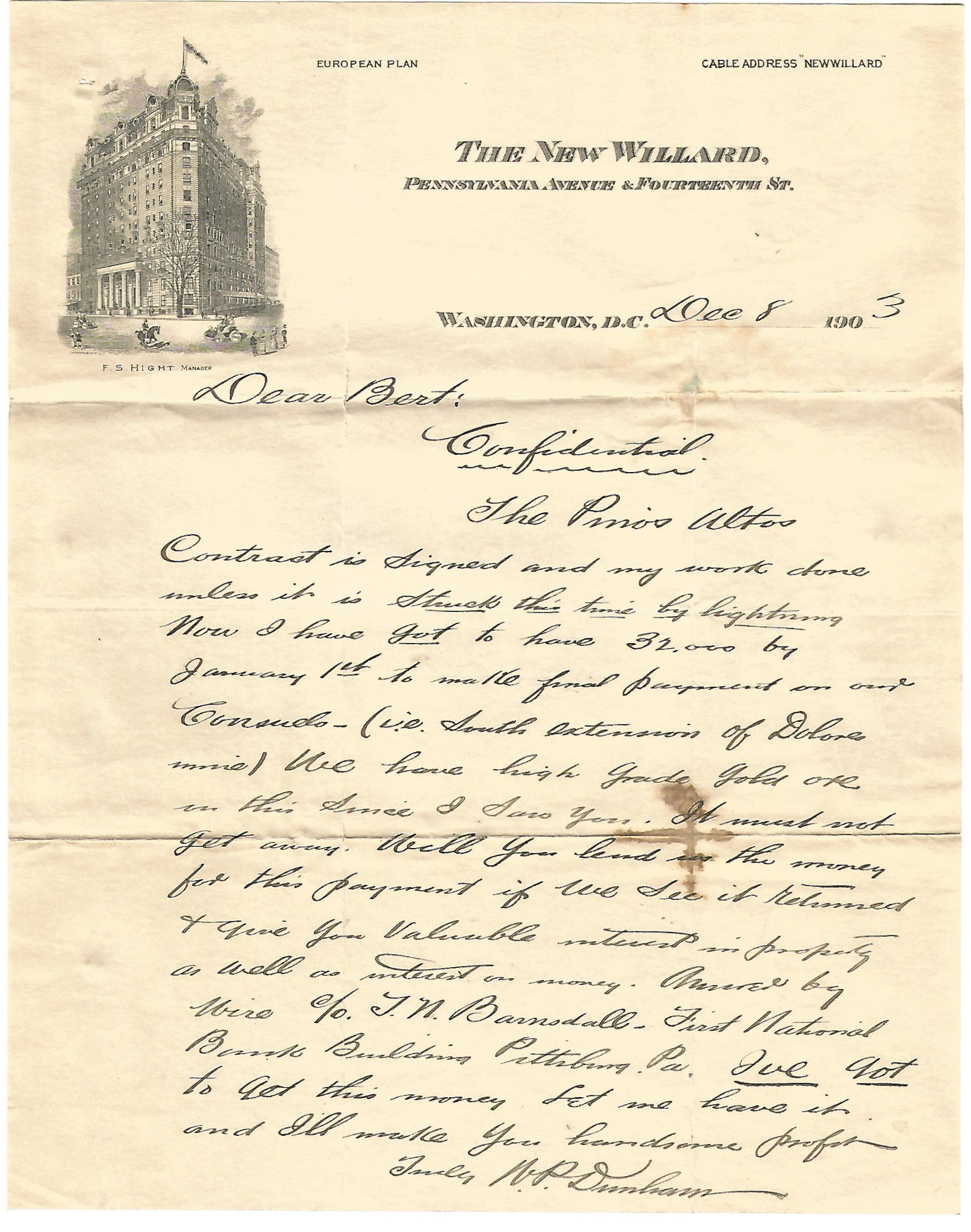 Mining Letter-Telegraph Correspondence with A.E. Carlton of Cripple Creek Colorado 1903
